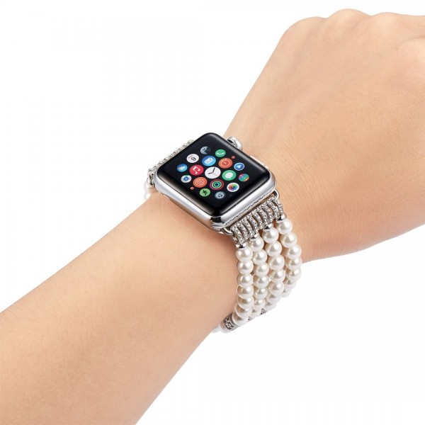 Fastgo Strap Compatible with Apple Watch Bands 42mm 44mm, Fashion Handmade Beaded Elastic Stretch Faux Pearl Bracelet Replacement for iWatch Series 5/4/3/2/1 Women Girls